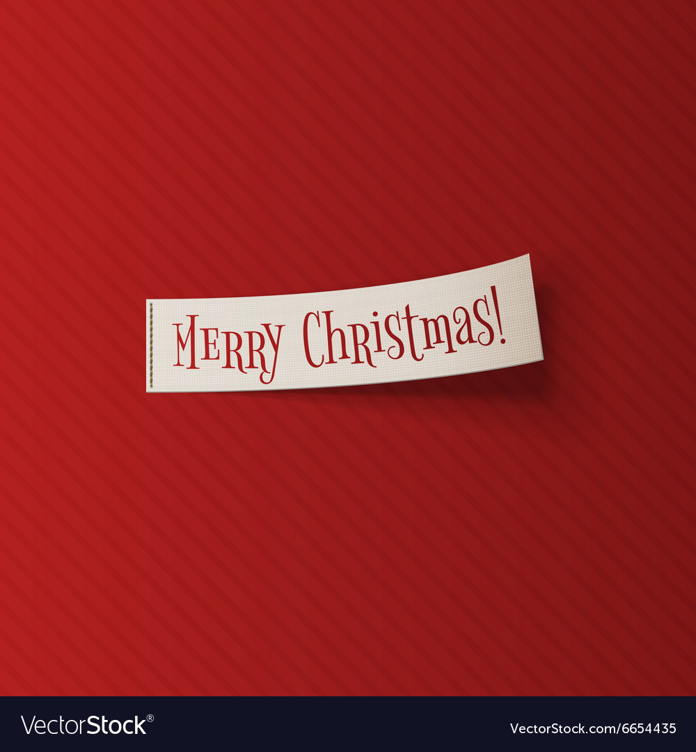 Realistic Christmas white Ribbon on red Background