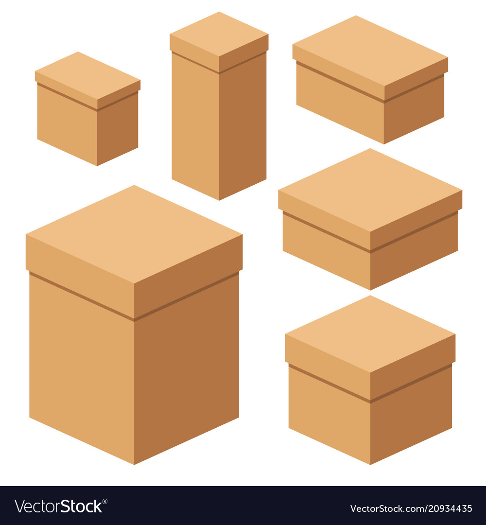 set of packing boxes royalty free vector image