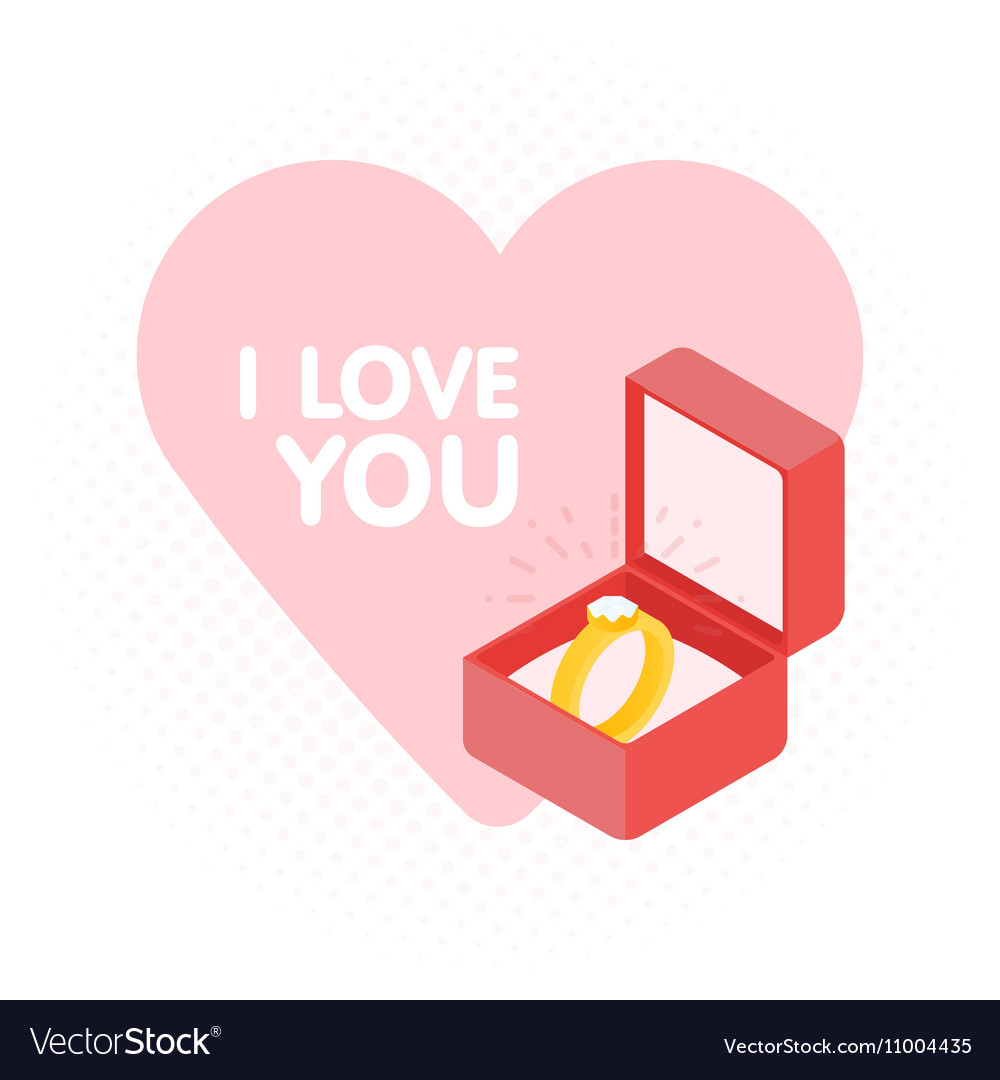 Wedding diamond ring in a box Royalty Free Vector Image