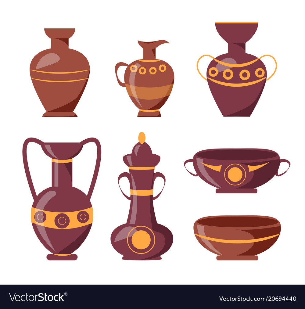 Ancient clay vases with ethnic ornaments set