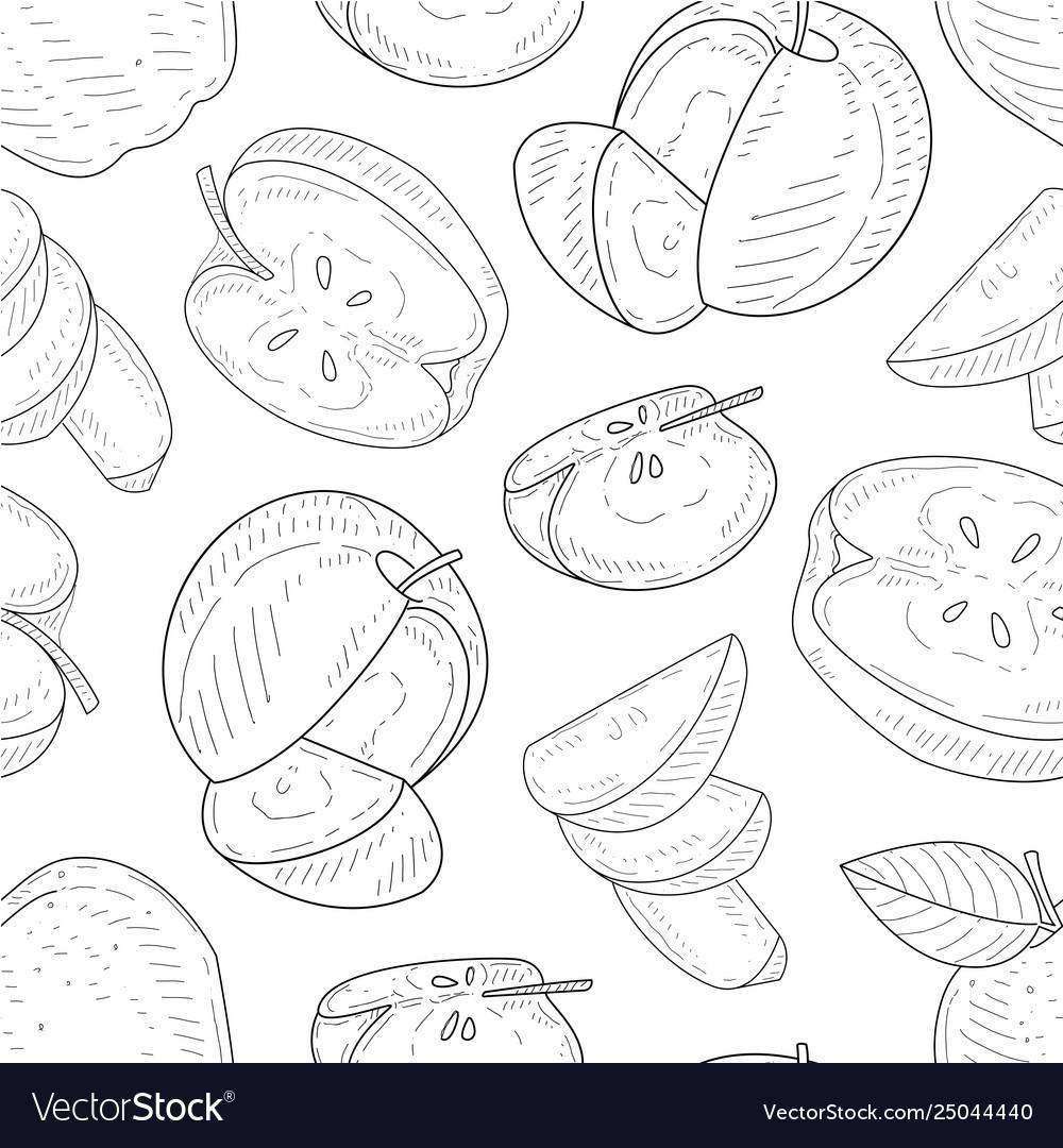 Apples seamless pattern monochrome hand drawn