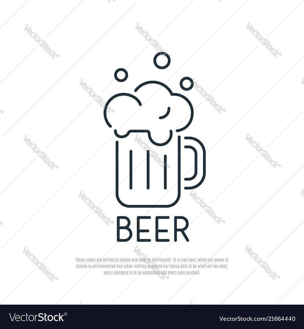 Beer icon mug of beer with foam line art style