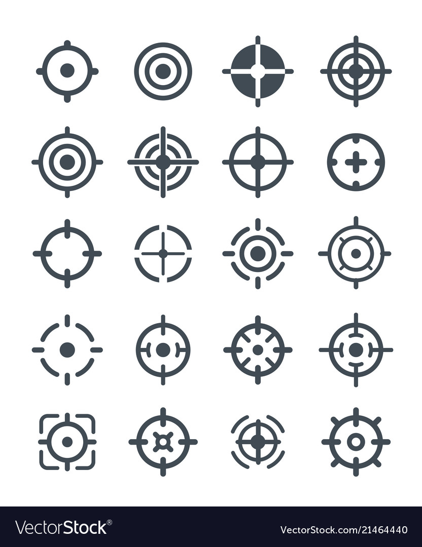 Black target icons on the white background