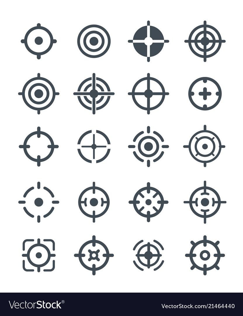 Black target icons on white background