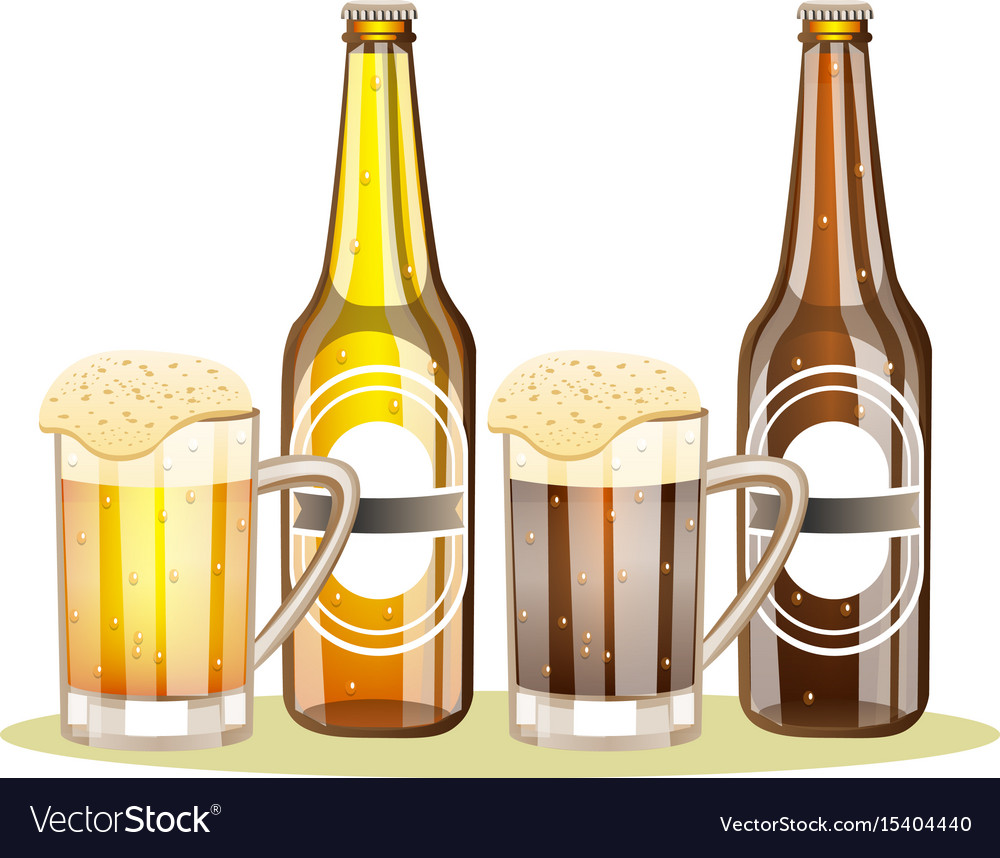 Bottle of beer with a glass vector image