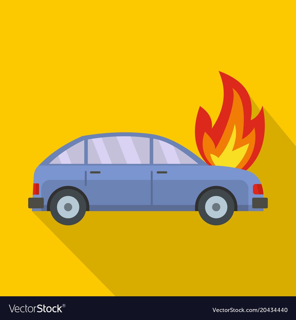 Burning car icon flat style
