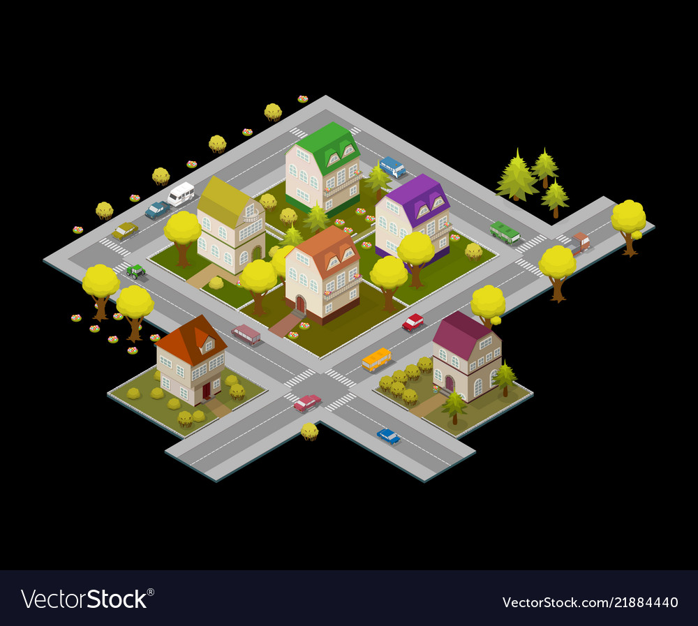Flat street and houses landscape gps navigation