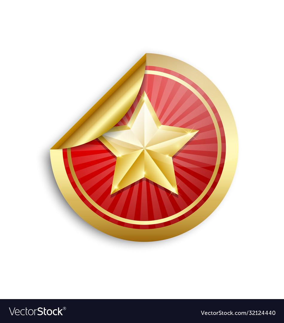 Golden star sticker on white background