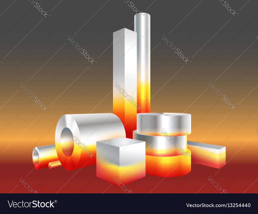 Group different melt hot metal steel objects