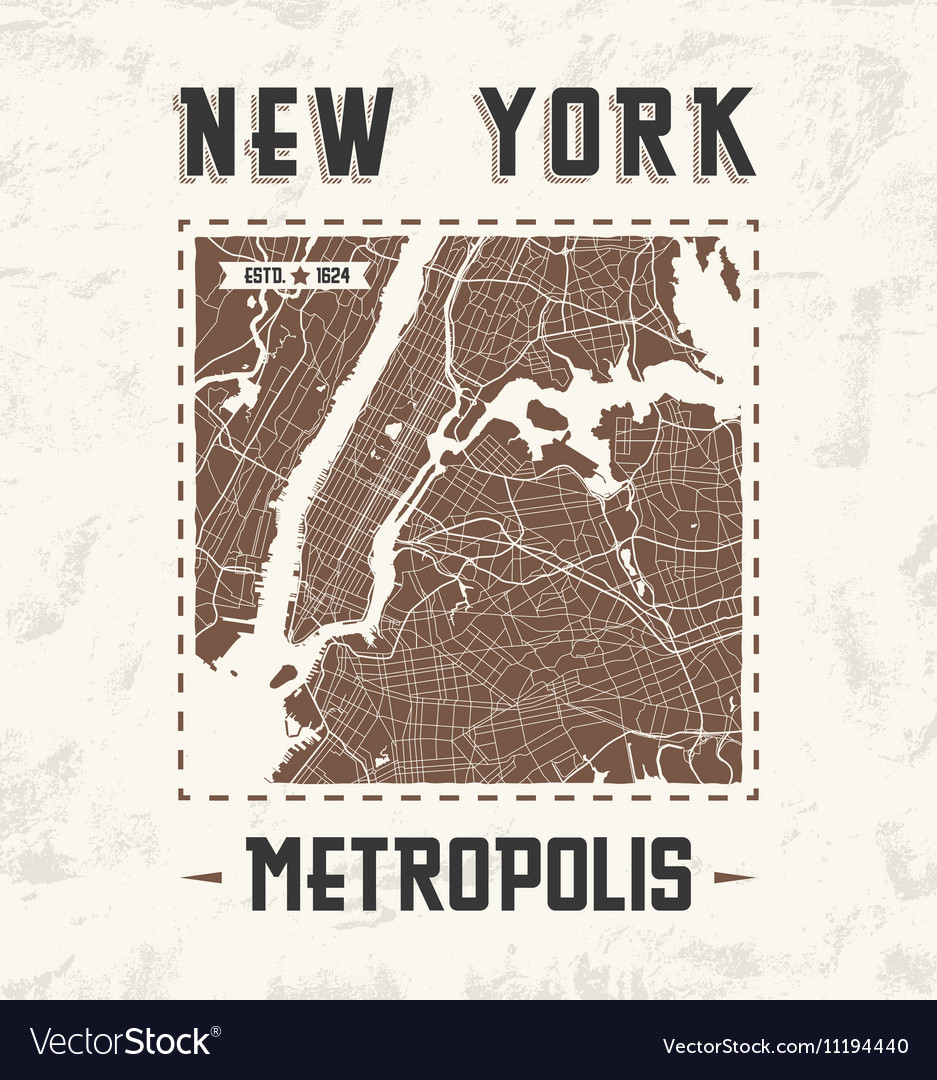 New york city streets t shirt design with city map