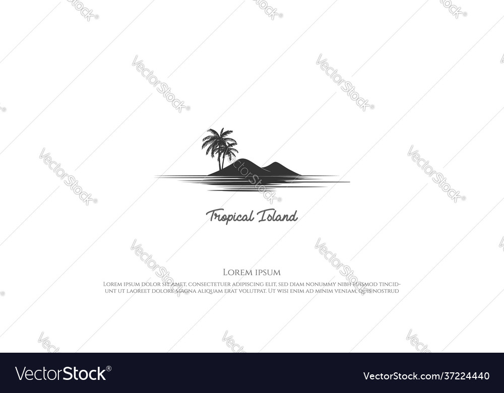 Palm coconut tree with island for beach or ocean
