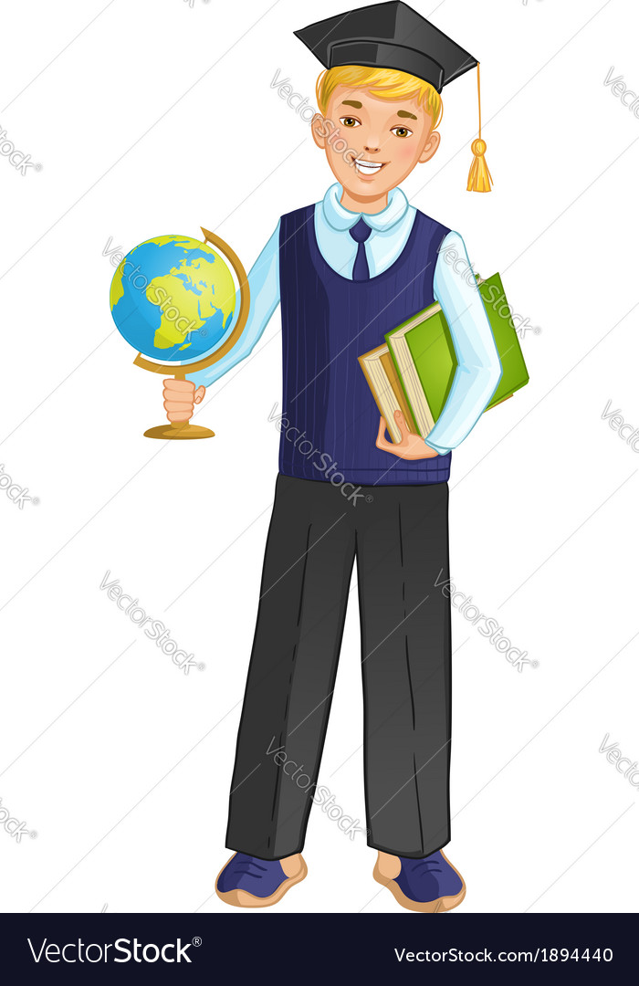 Schoolboy with globe and books eps10