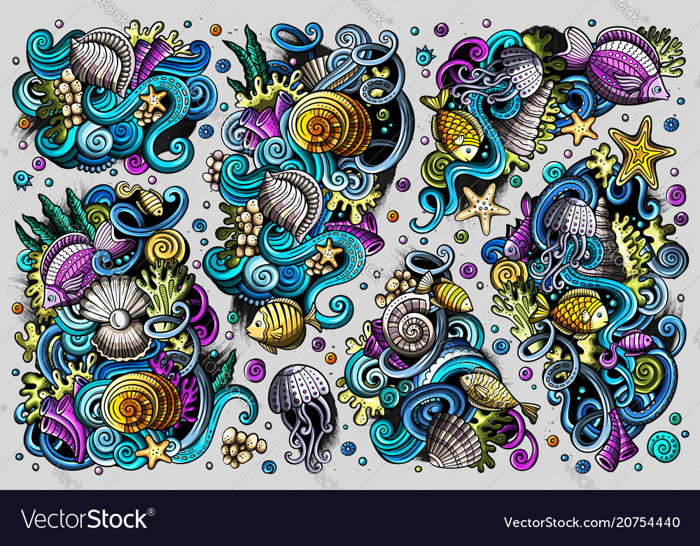 Set of sealife combinations of objects and