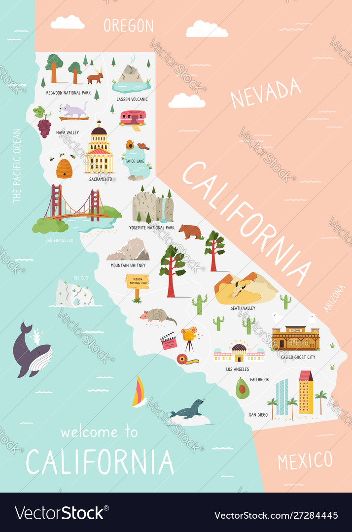 An map california with destinations
