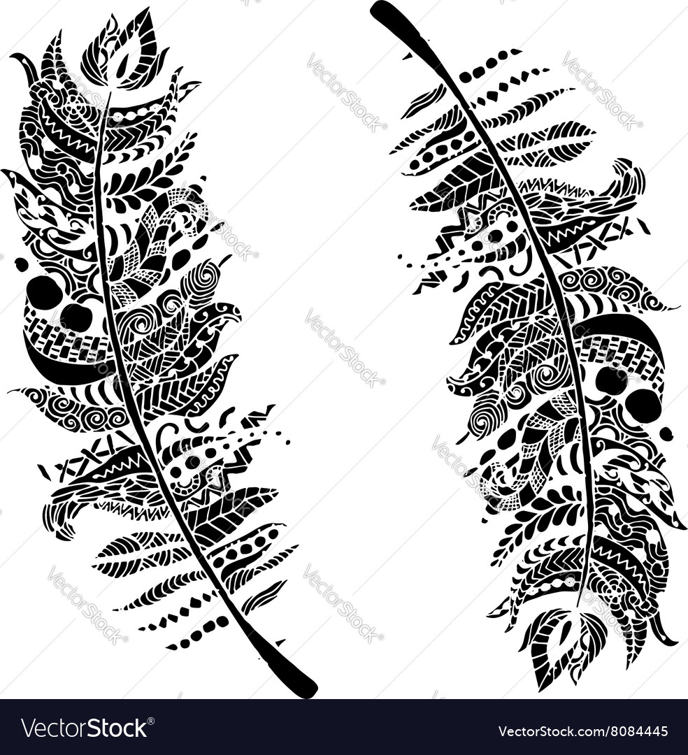 Art feather zentangle style for your design