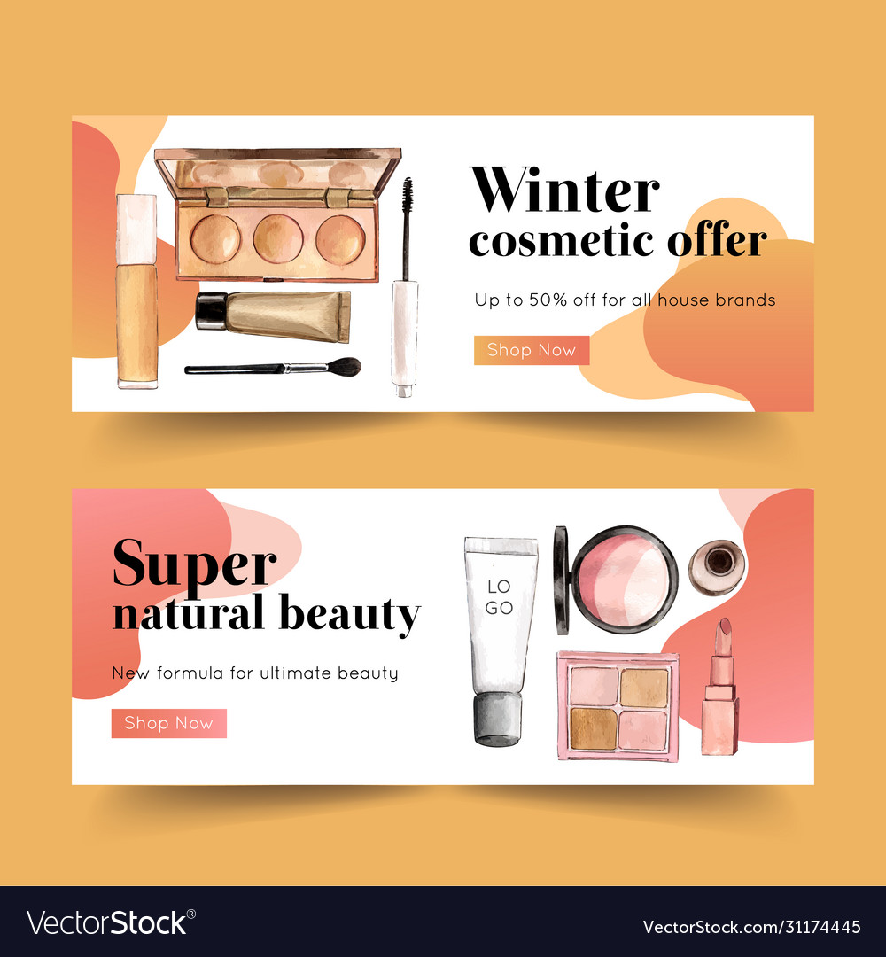Cosmetic Banner Design With Highlighter Mascara Vector Image