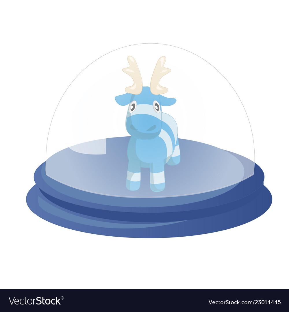 Decorative globe with cute blue cartoon reindeer