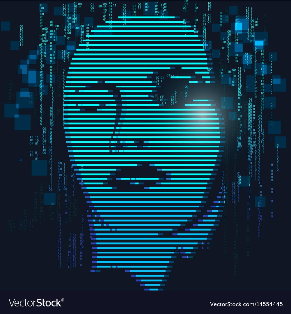 Digital face vector image