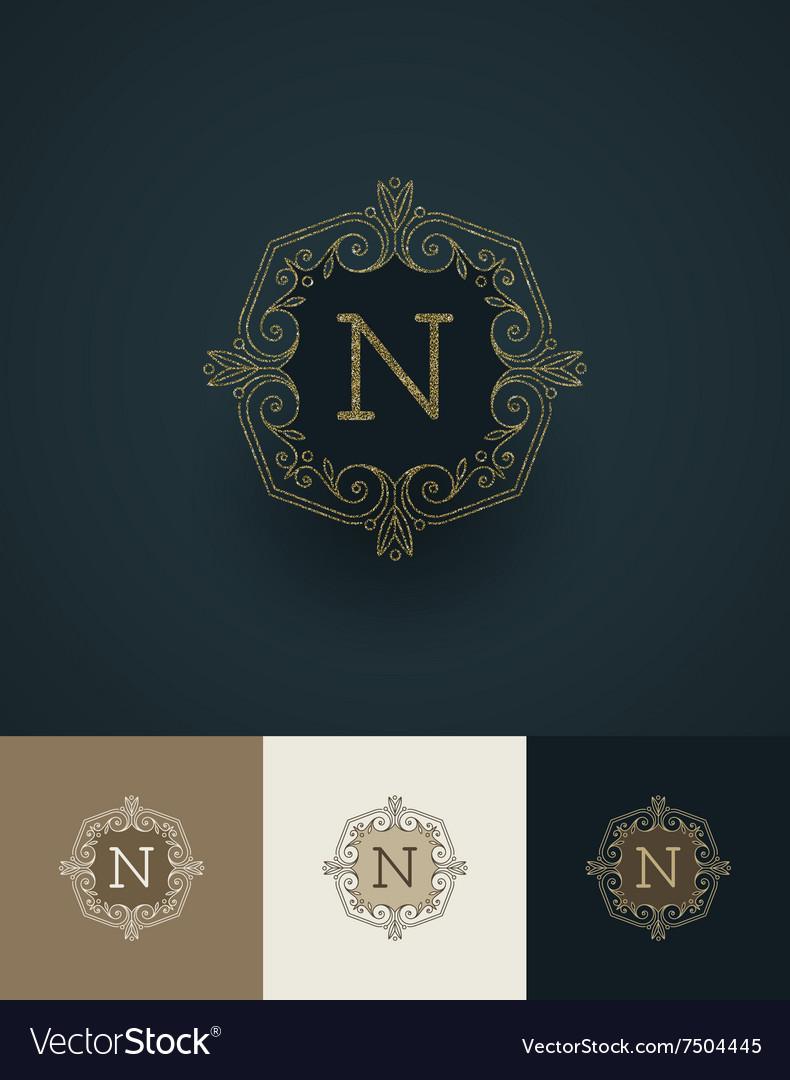 Glitter gold monograms