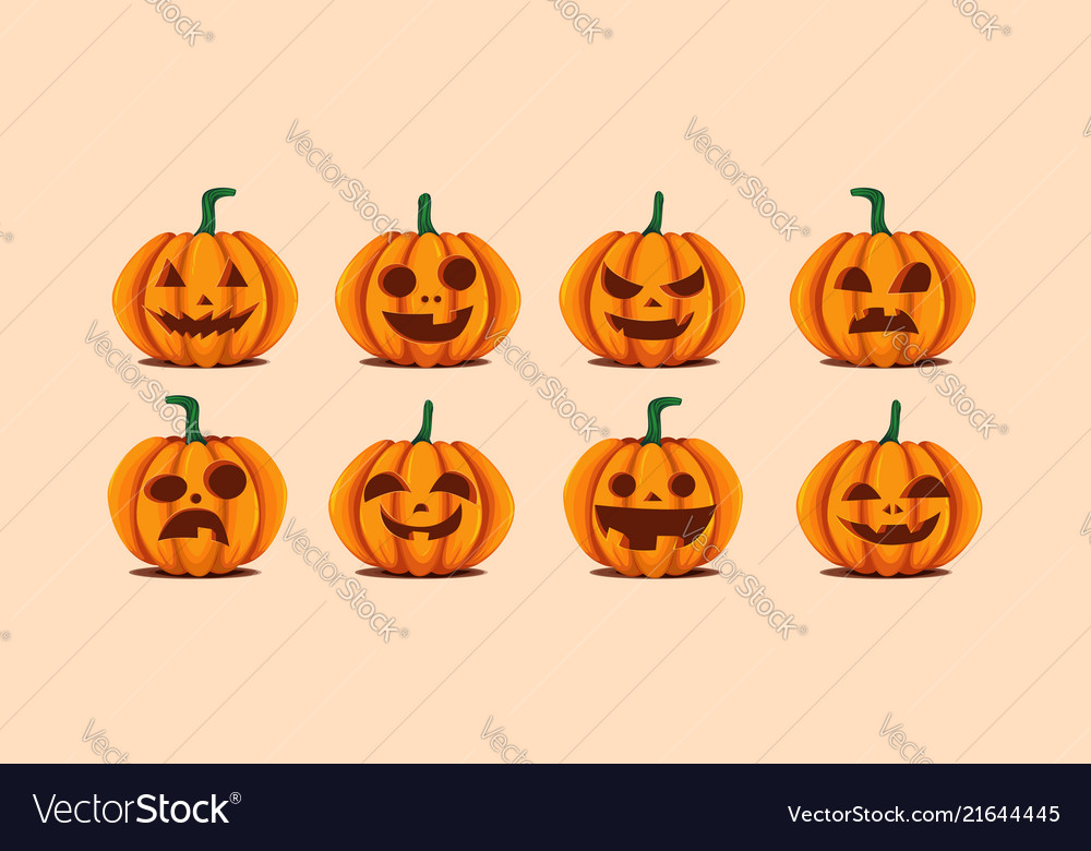 Halloween pumpkins in with set of different