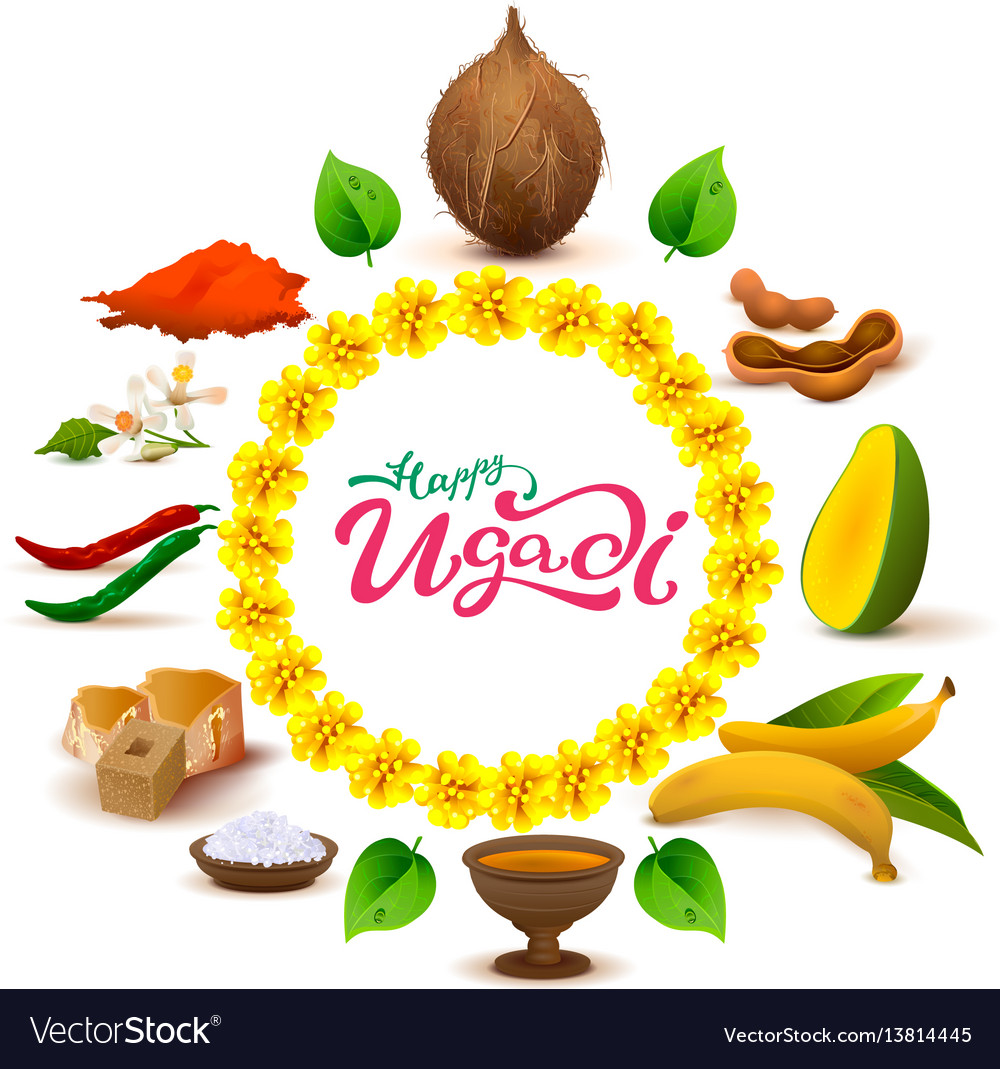 Happy ugadi lettering text set of accessories