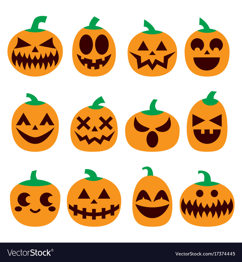 pumpkin icons set halloween scary faces de vector image