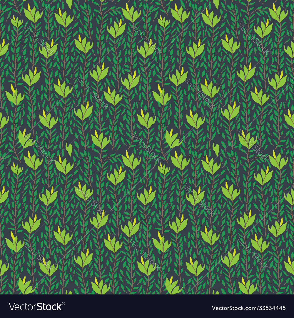 Seamless pattern hand drawn flowers and leaves