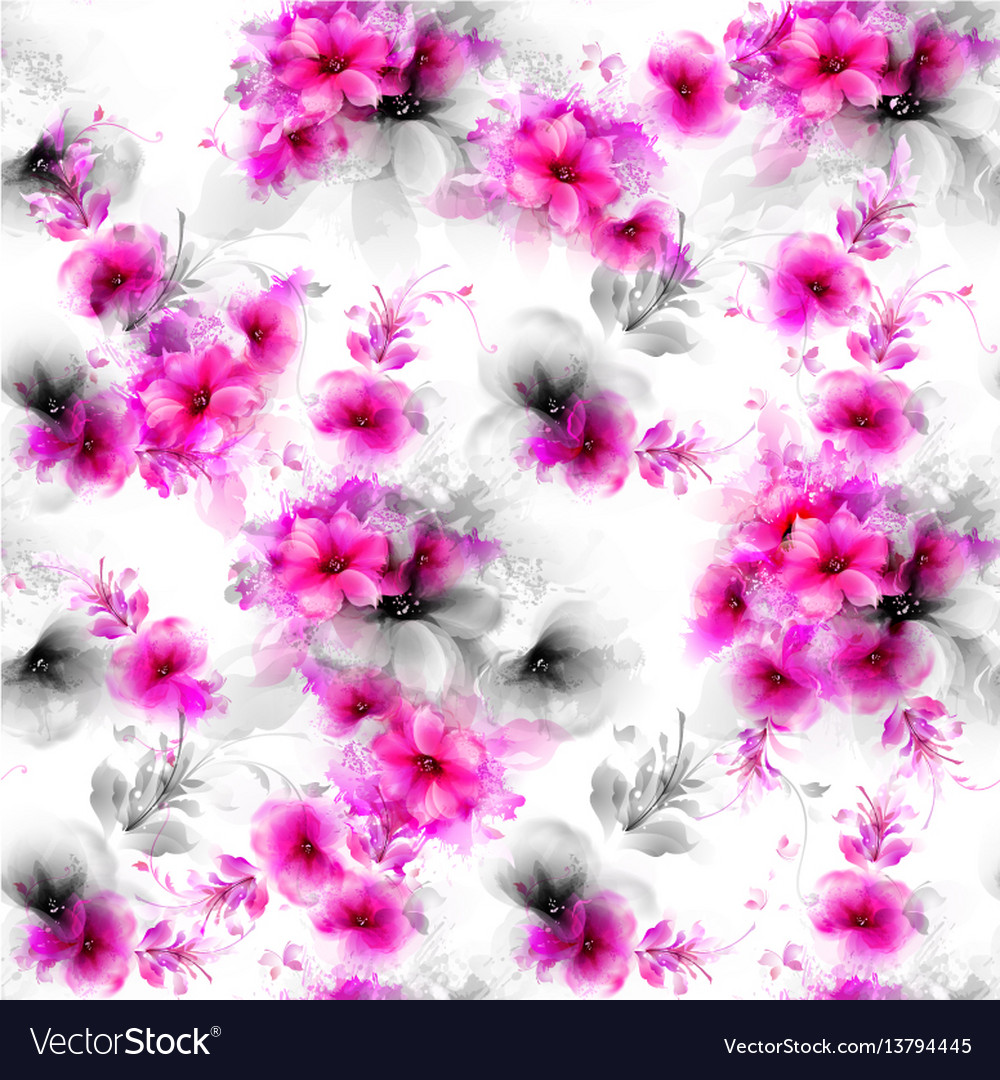 Seamless pattern with pink abstract flowers and