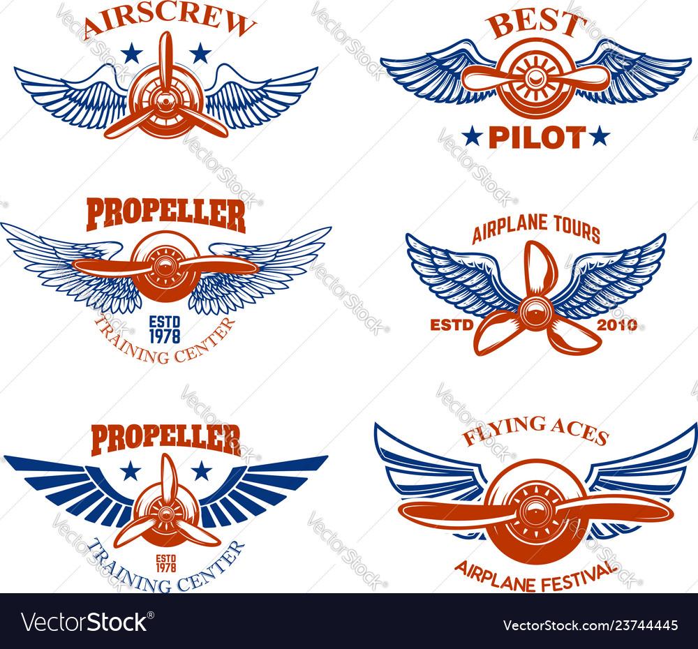 Set of vintage airplane show emblems design