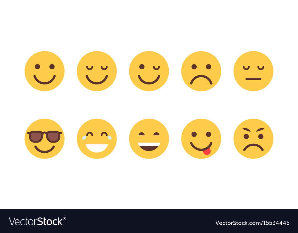 Yellow cartoon face set emoji people different