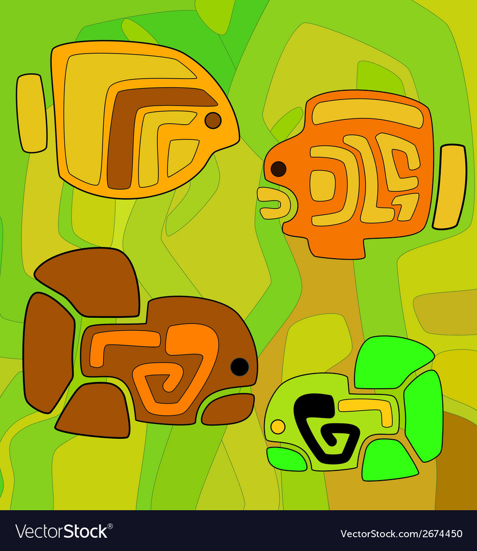 Abstract background with stylized tribal fishes