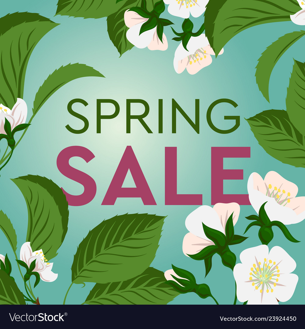 Advertisement about the spring sale on background