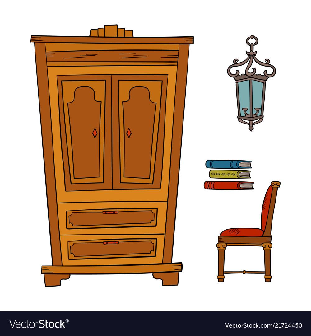 Antique furniture set - closet lamp book chairs