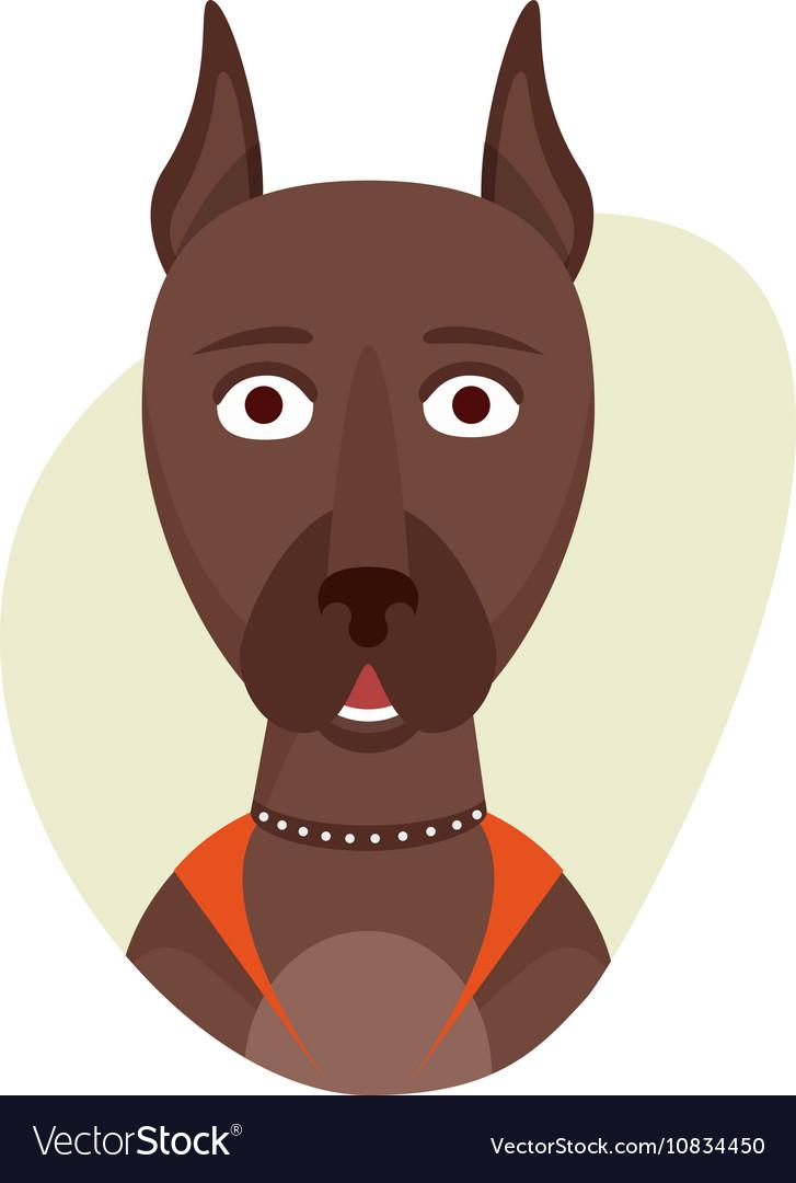 Cartoon cute doberman dog Isolated objects on