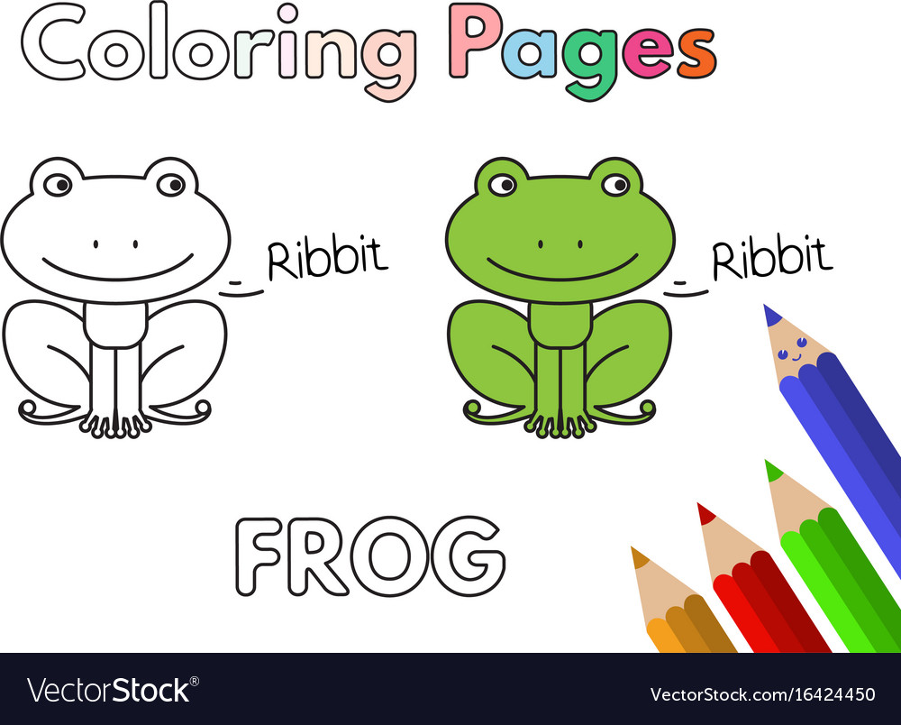 Cartoon frog coloring book Royalty Free Vector Image