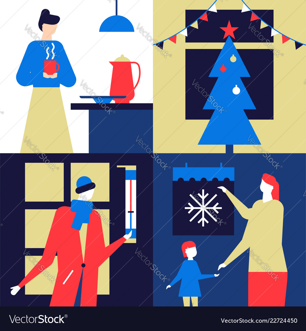 Christmas time - flat design style colorful