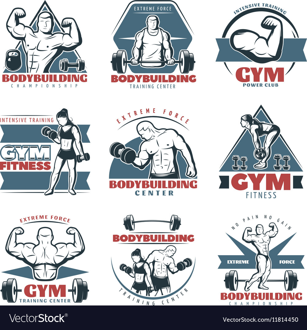 Colored Body Building Emblem Set vector image