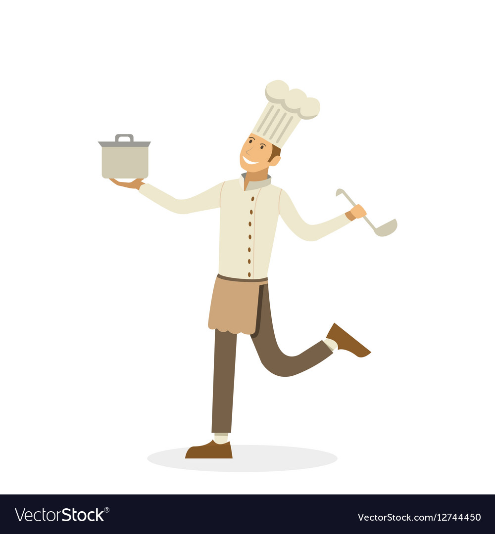 Happy chef with pan and ladle in the hands vector image