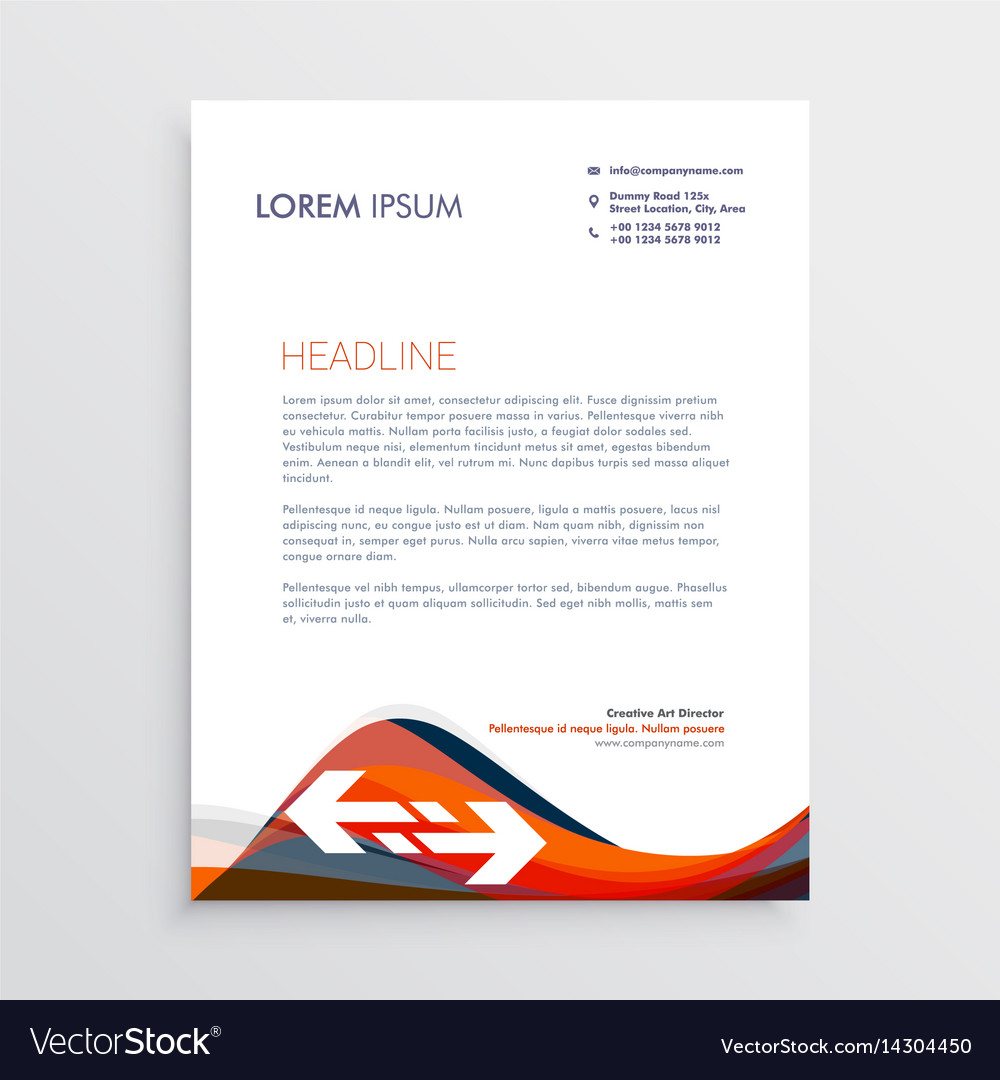 Modern letterhead design template with red and vector image