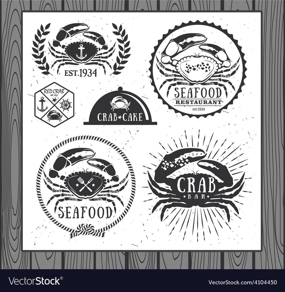 Set of vintage seafood labels badges and design