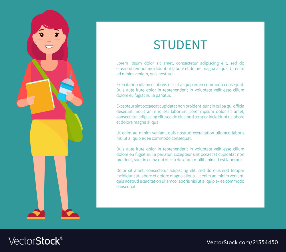 Student girl in cartoon style smiling woman book