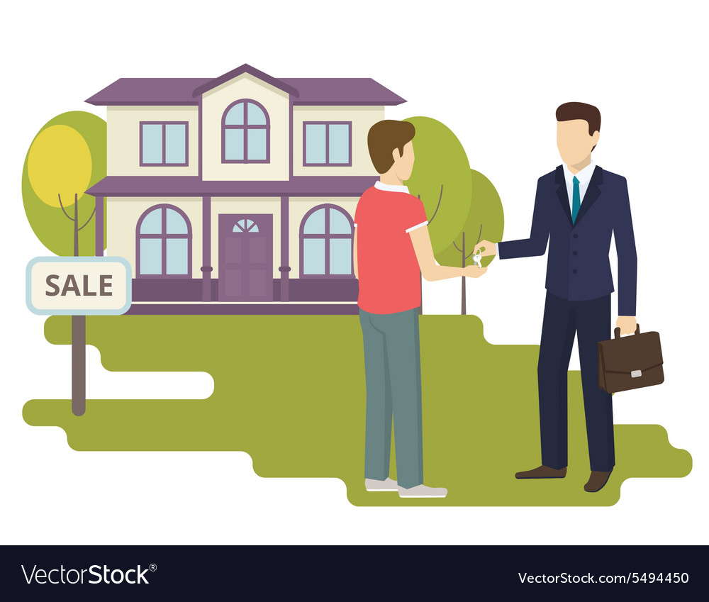 Young man is buying a new house Royalty Free Vector Image