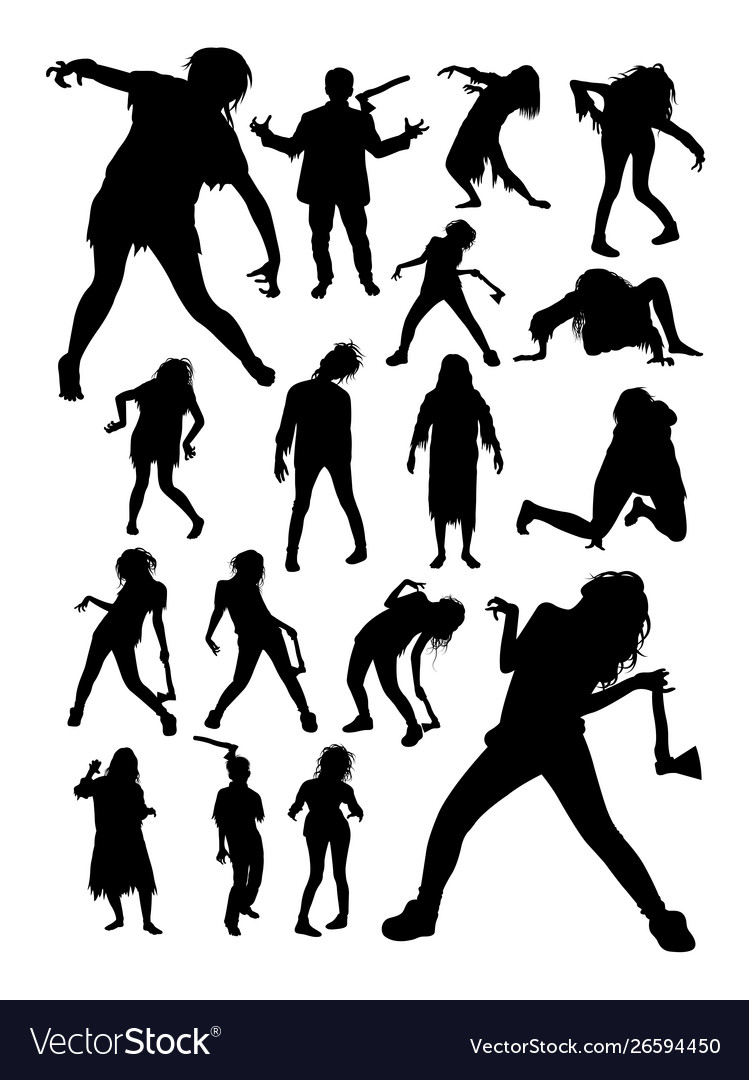 Zombies horror halloween silhouettes
