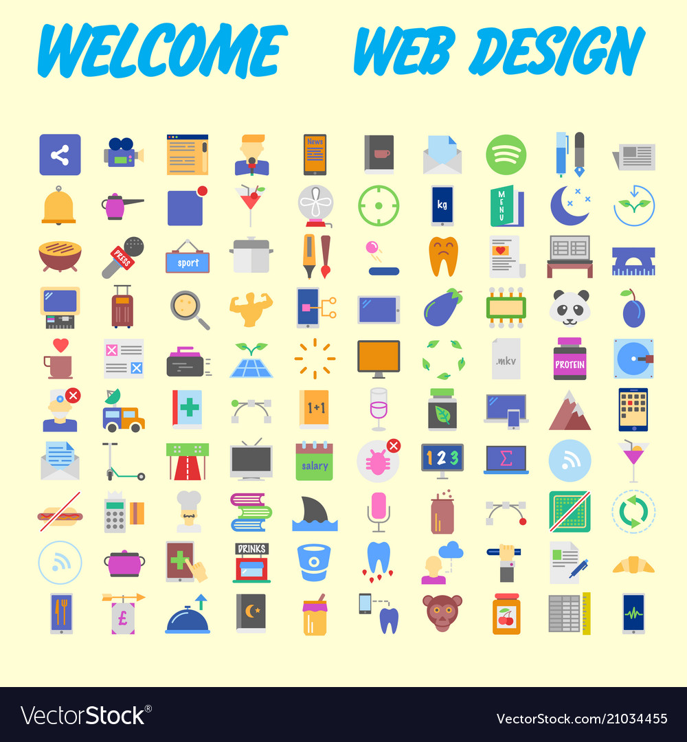100 icon set trendy thin and simple icons for web