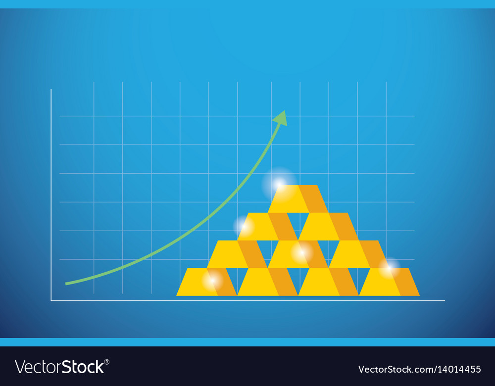 Business graph gold bars with green arrow up vector image