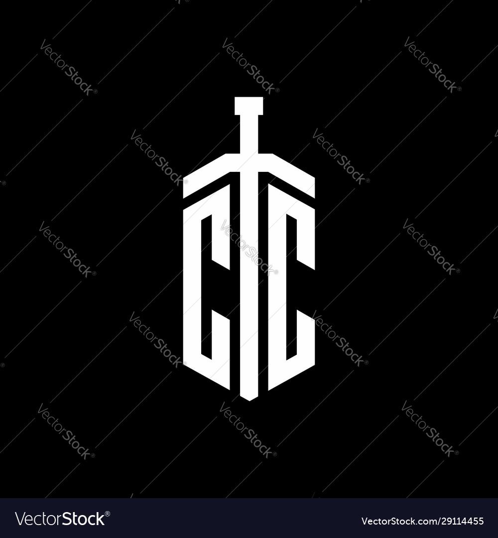 Cc Logo Monogram With Sword Element Ribbon Design Vector Image