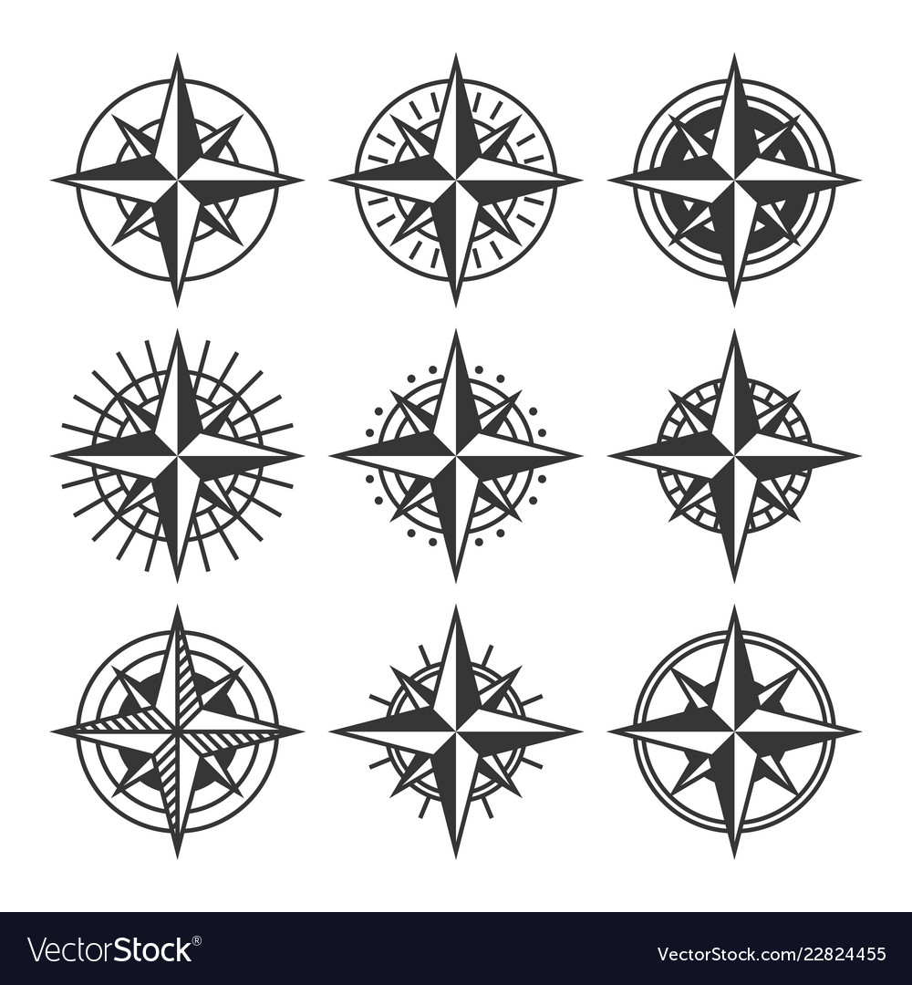 Compasses with ornate dials set wind rose icons