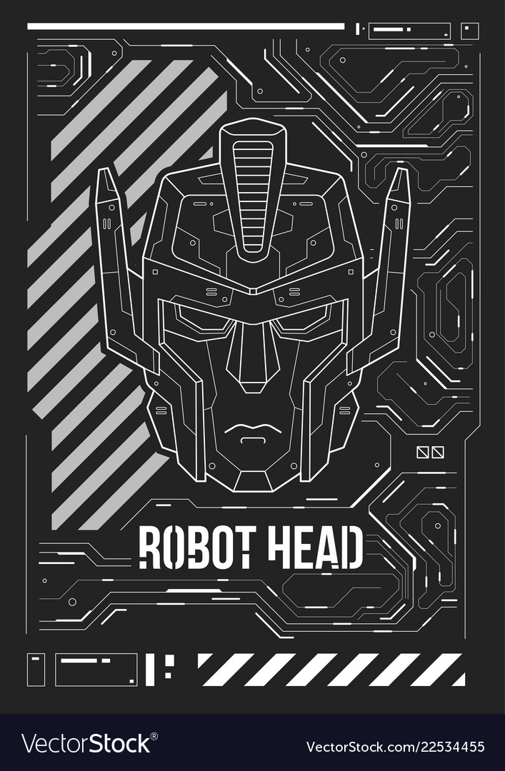 Futuristic poster with a robot head template for