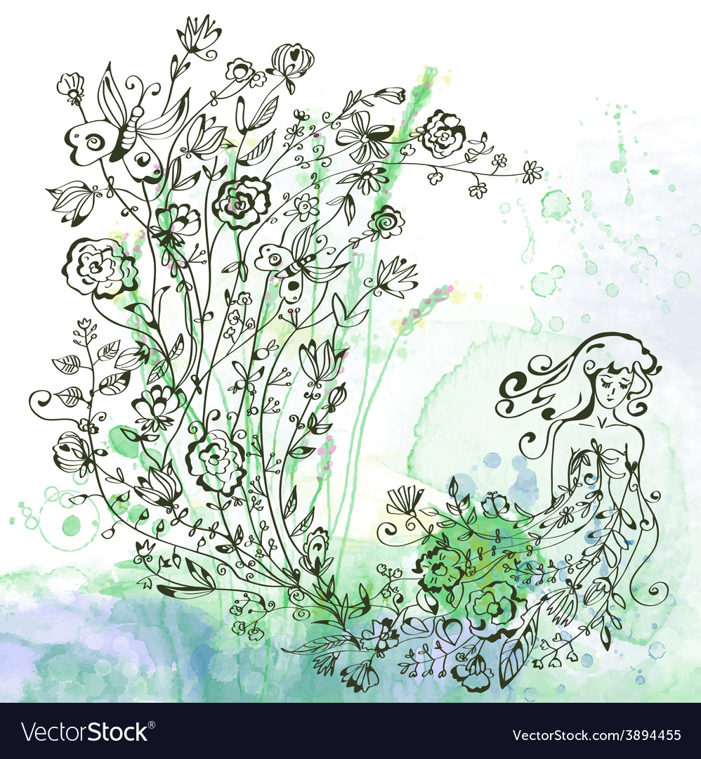 Graphic card with girl and floral - background for