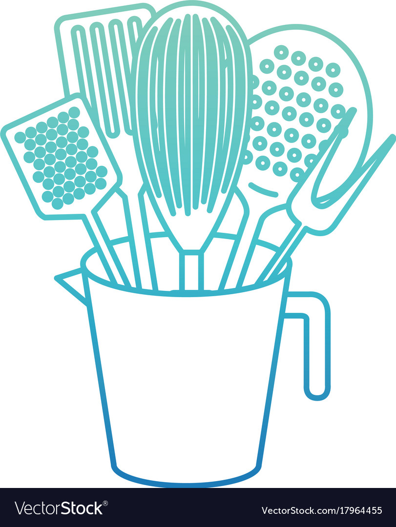 Jar with kitchen utensils degraded blue color Vector Image